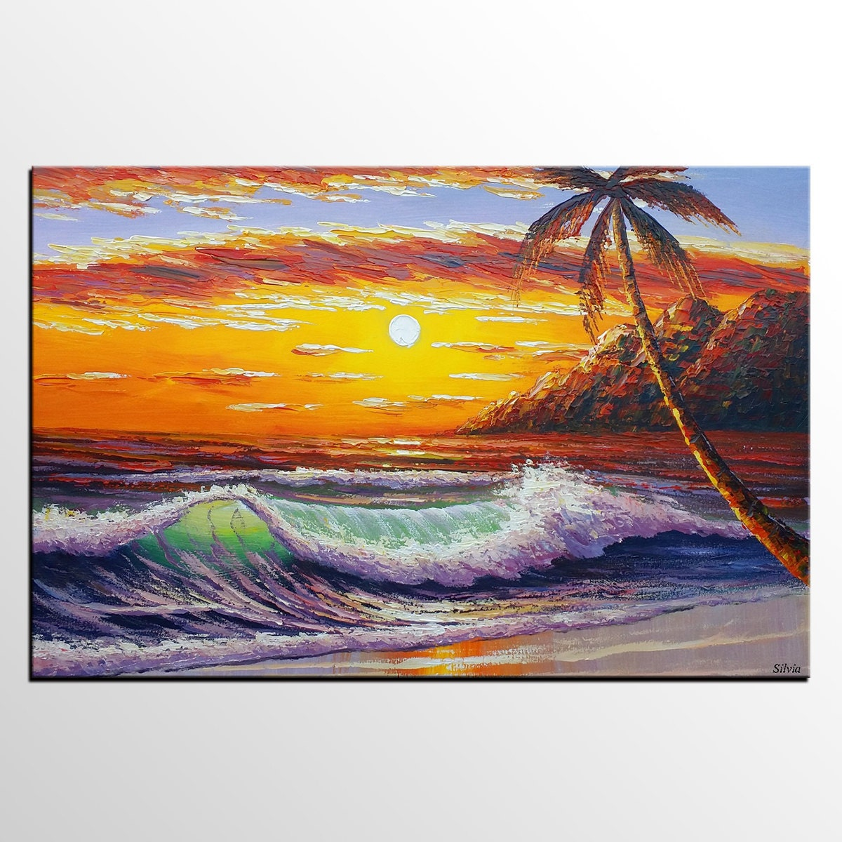 Sunrise Painting Abstract Art Large Art Canvas Wall Art