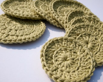 Green cotton face scrubbie, crochet face pad, crochet face scrubbies, cotton face pads - set of 8