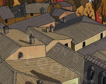 Illustration printing-Il borgo in autumn-series