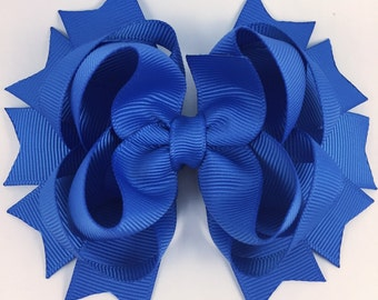 Blue hair bow / back to school hair bow / layered hair bow