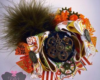"""Ott hair bow/ 4.5"""" hair bow/ steam punk hair bow / gears bow"""