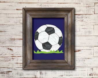 Soccer Football Futbol World's Game / Word Art Typography / Wall Art / Home Decor / Coach Unique Gift / Boy's Room / Coach Gift