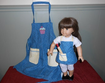 Child and doll apron set with rolling pin