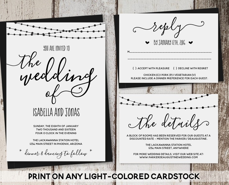 Wedding Invitation Template - Rustic Printable Set | String Lights
