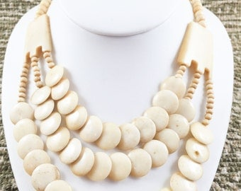 Vinatge Egyptian Polished Bone Disc Necklace
