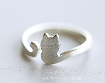 925 Sterling silver Cat ring, opening ring, personality adjustable ring