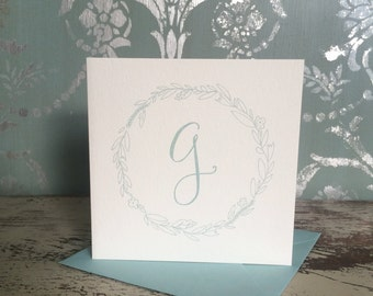 Initial Stationery - Hand Lettered Initial Cards with Floral Wreath (Set of 4) COLOR