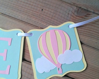 Hot Air Balloon High Chair Banner - up up & away party - First Birthday - Party Supplies