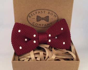Handmade Knitted Bowtie in Burgundy Red Spotted