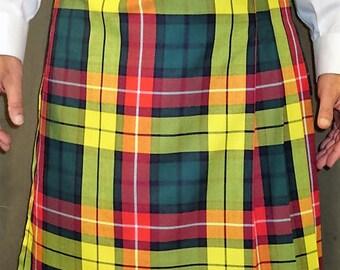 Modern Buchanan Tartan Plaid Kilt~Hiking Kilt~GreenYellow  Men's Kilt~Scottish Irish Plaid~Highland Games Sport's wedding Kilt@sohoskirts