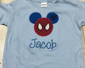 Personalized Mickey spiderman shirt, embroidered disney shirt, disney shirt, spiderman embroidered shirt