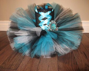 Turquoise, black, white tutu dress, pirate tutu dress, zebra tutu dress