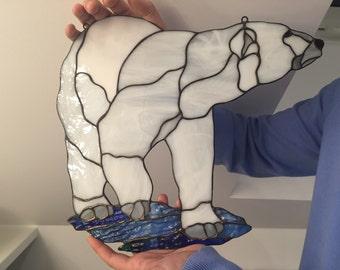 Stained glass polar bear Tiffany glass window suncatcher