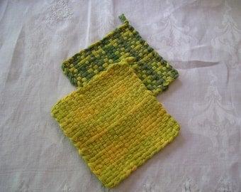 Woven Pot Holders Set of 2 Yellow Green Pot Holders 4.5x4.5