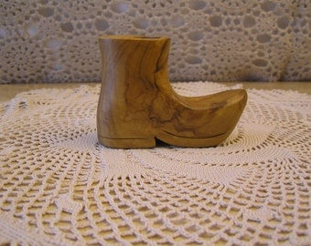 Vintage Wooden Boot Toothpick Holder, Hand Carved, Unique Bridal Gift Topper, Collector's Item,