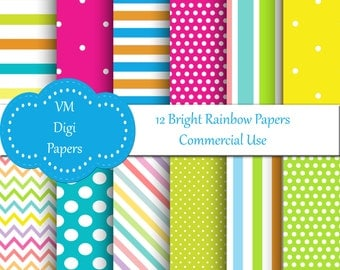 Rainbow Digital Paper, Bright Colors, commercial use, rainbow paper, digital paper rainbow, rainbow digital,  Rainbow background