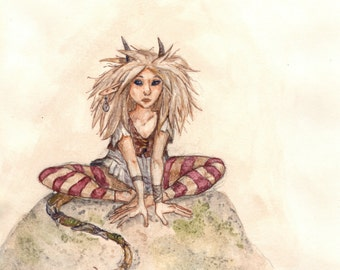 Fae Creature Watercolor 8x10 Art Print