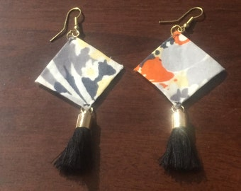 South Korea-Handcrafted Fabric Earrings- South Korean Floral Fabric-Unique Statement Piece-South Korean Fabric Earrings