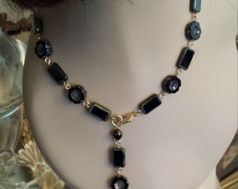 One strand black beaded artist glass adjustable artist designed necklace