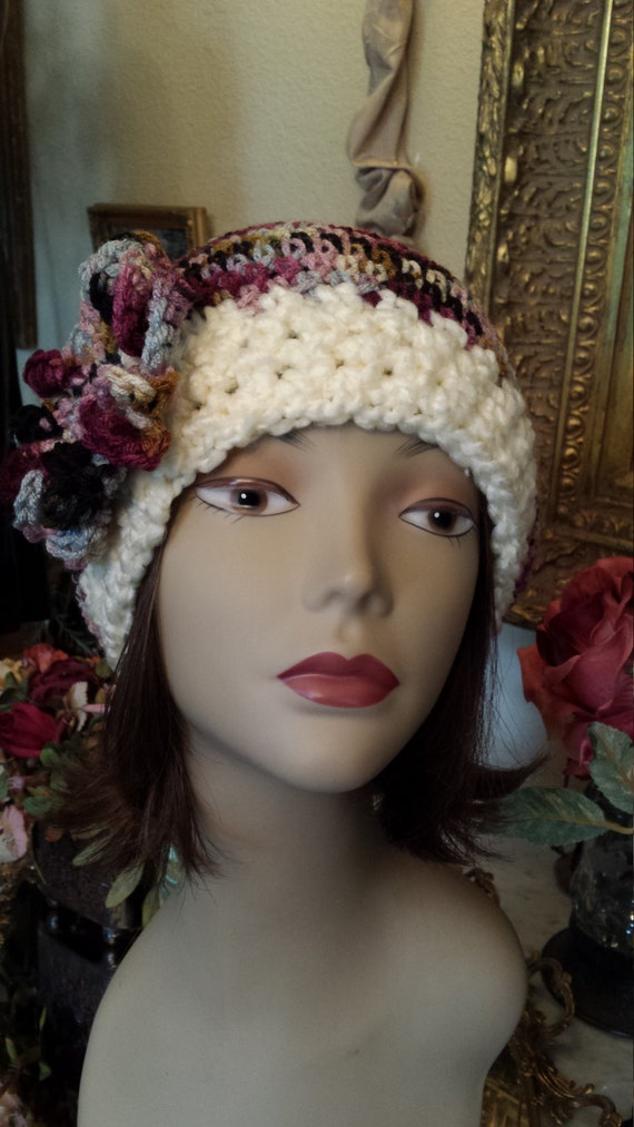 Winter hat with flower hand made and designed by petronella