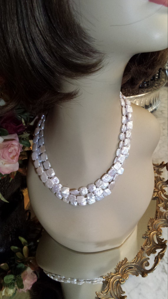 Three strand square flat freshwater pearls necklace