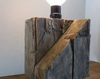 Recycled barn wood table lamp