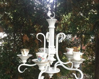 MOVING SALE Whimsical candlelier/candelabra/vintage teacups/candle lighting/shabby chic/cottage style