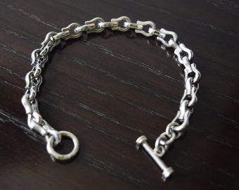 Mens 9.25 Sterling Silver high polished Horseshoes Bracelet handmade.