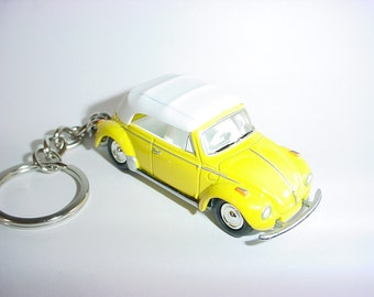 3D Volkswagen Beetle custom keychain by Brian Thornton keyring key chain finished in yellow stock VW trim bug