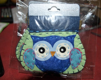 Green Owl Felt Coin Purse