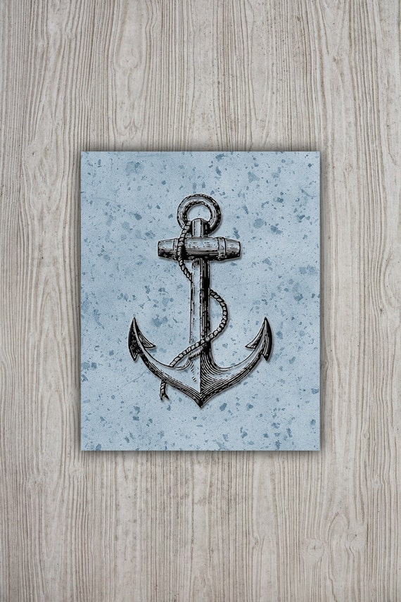 Blue Anchor Wall Decor : Blue black anchor decor navy printable vintage