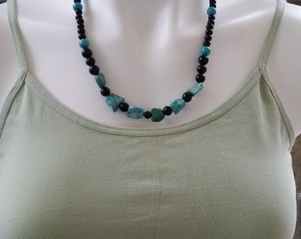 Matching SET Turquoise and Black Beaded Necklace and Earrings