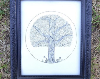 Swirl Tree Wall Art Print of Original Ink Drawing - Limited Edition Signed Illustration