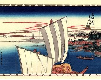 "Japanese Ukiyoe, Woodblock print, antique, Hiroshige, ""Shell Gathering at Shibaura"""