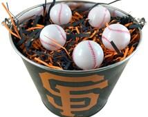 San Francisco Giants Easter Basket MLB - with Baseball Eggs and Team Color Grass