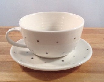 Handmade Porcelain Cup and Saucer with Spot Design