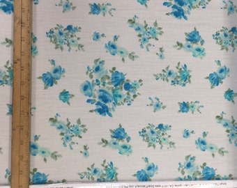 100% corrugated (textured) rayon challis. Ivory background. Dainty.l blue flowers.