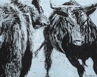 BEAR vs. BULL PRINT, Stock Market, Bear, Bull, Painting, Wall Street, (Original Acrylic on Canvas Sold)
