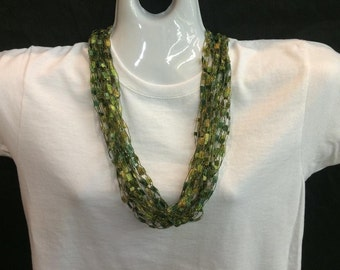 Green and gold crocheted ribbon necklace #43