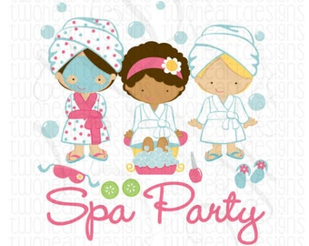 Spa Party Girls Pampering Guest Shirts Favors Iron On Transfer - - Digital Download - You Print