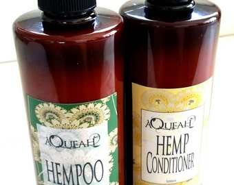 Hempoo, hemp shampoo and hemp conditioner pack 2x 500ml pump bottles, natural , organic