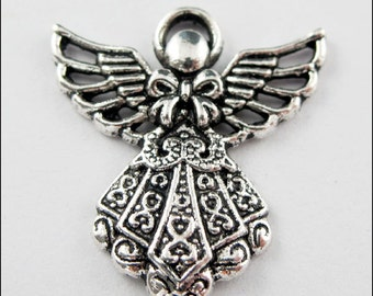 10Pcs New Dull Silver Tone Pendants Charming Angel Hollw Necklace