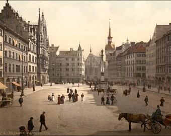 24x36 Poster . Marienplatz, Munich, Bavaria, Germany Photochorm 1890