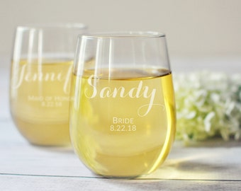 Bridesmaid Stemless Wine Glasses - Set of 4 - Bridesmaid Proposal - Personalized Glass - Bridesmaid Glass - Bridal Party - Wedding Glasses