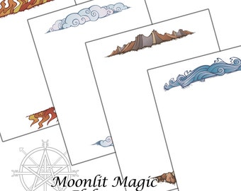 Book of Shadows Pages Four Elements Pagan Wicca
