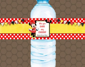 Minnie Mouse Red Yellow Water Bottle Labels Wrappers Stickers Printable Uprint Digital DIY Instant Download