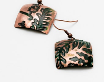 Copper handmade forged earrings with embossing. Handmade In Hudson NY.