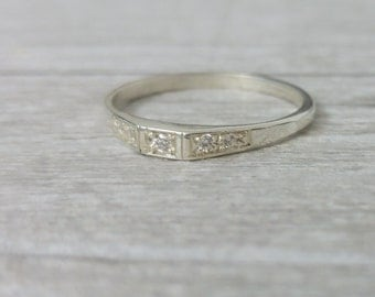 Delicate Engagement ring, elegant and unique engagement ring, 14k white gold diamond ring, deco style engagement ring