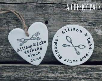 Personalised clay heart ornament - clay keepsake - heart decoration - anniversary gift - wedding gift - funny gift - adult gift - for him