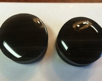 1inch Rainbow Obsidian 25mm plugs gauges stretched ears modified